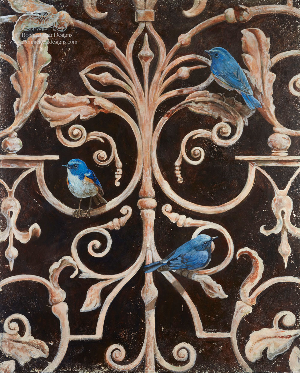 Three bluebirds rest on an iron gate in this contemporary acrylic painting by Chicago artist Bonnie Lecat