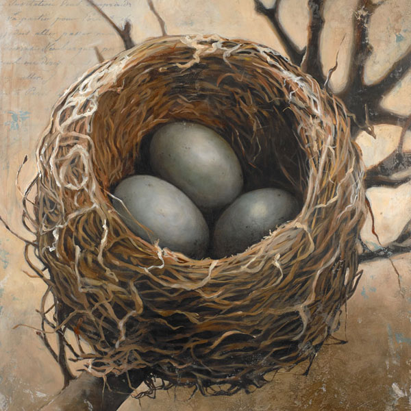 """Three"" 40"" x 30"" acrylic on wood panel ©2013 Bonnie Lecat, Nest painting with three blue eggs"