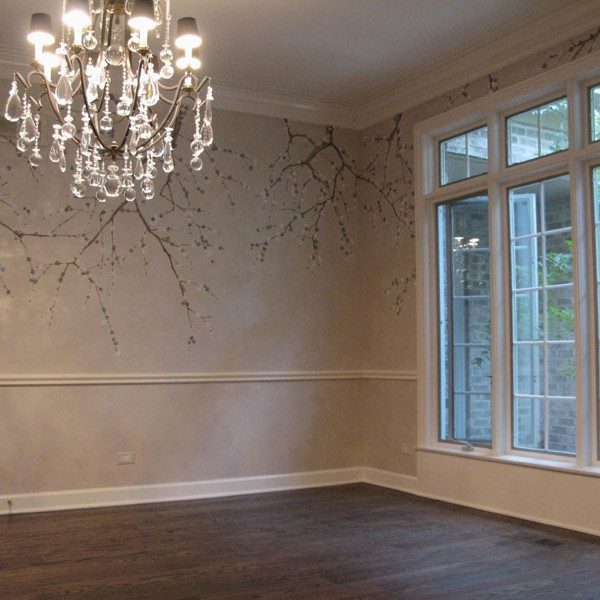 Plum Blossoms on Lusterstone finish in Elegant Dining Room