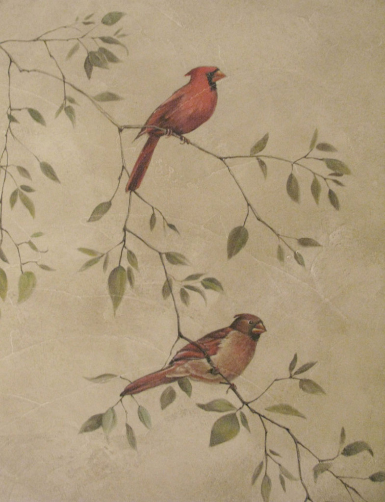cardinals on a branch mural