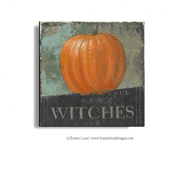 """Pumpkin and Witches"" original Halloween Art by Bonnie Lecat"