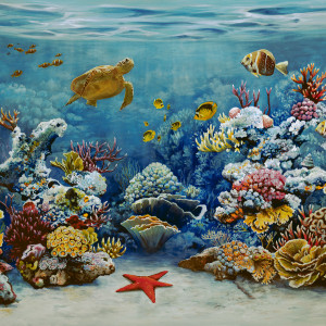 coral reef original acrylic painting framed coastal art painting fine art fine art paintings framed artwork