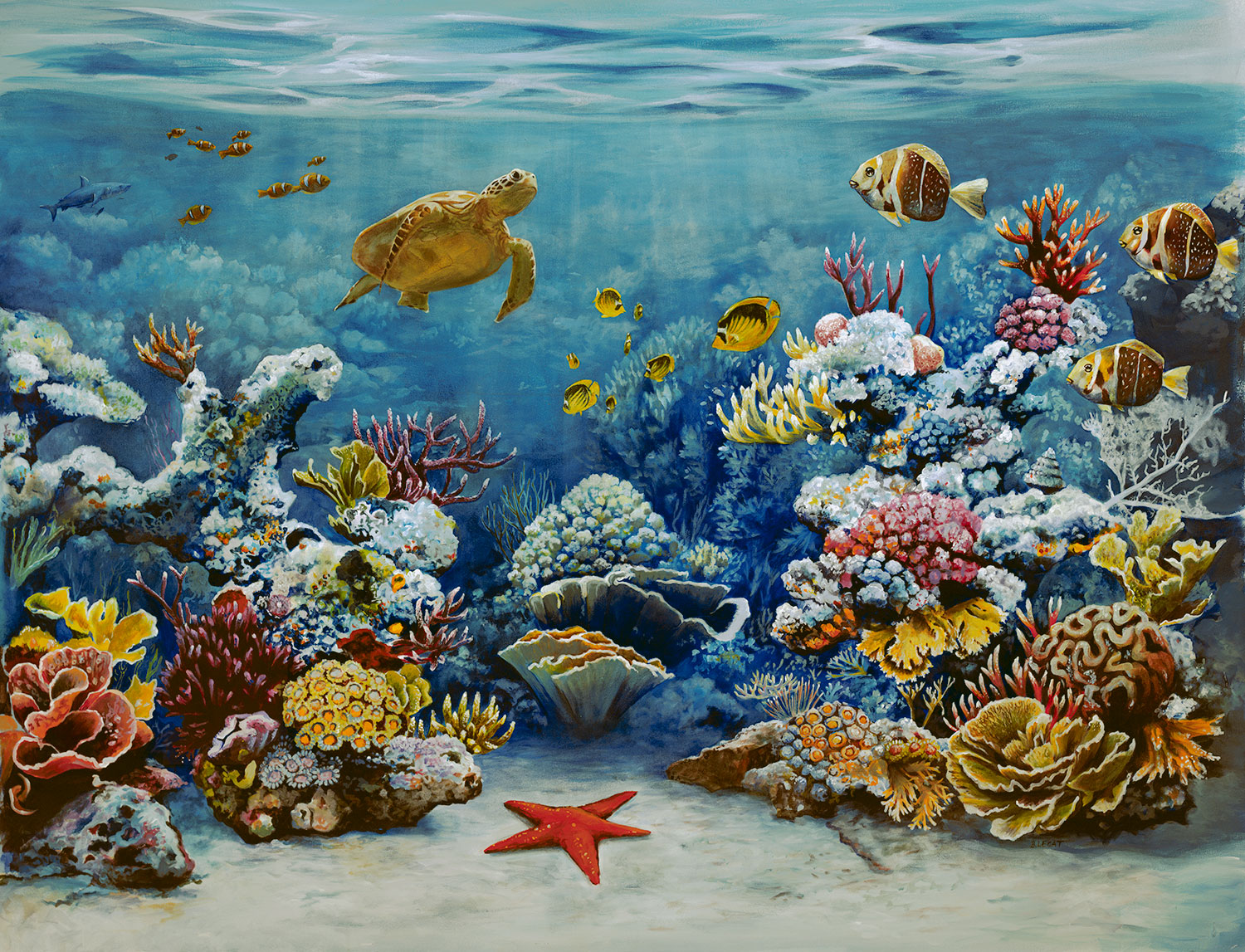 coral reef original acrylic painting framed coastal art painting