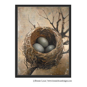 """Three"" framed giclee print on canvas by Bonnie Lecat"