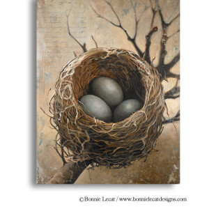 Large Nest Print featuring three bird's eggs in a nest