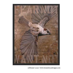 """""""Fear Not"""" 40 x 30 framed bird print artwork for sale"""