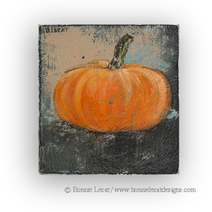 Rustic pumpkin art print on wood panel available in two sizes