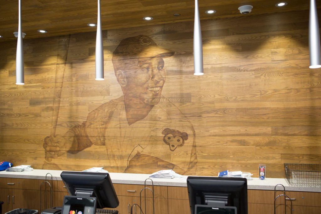 The completed Ernie Banks mural located at the Cubs retail store.
