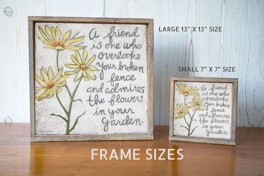 Yellow Flowers Friendship Quote Framed Inspirational Art Print Artwork Prints Home Decor