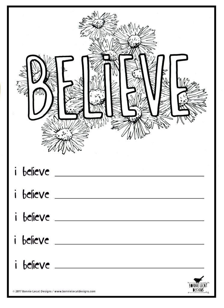 journal with coloring pages - free printable believe coloring or journal page