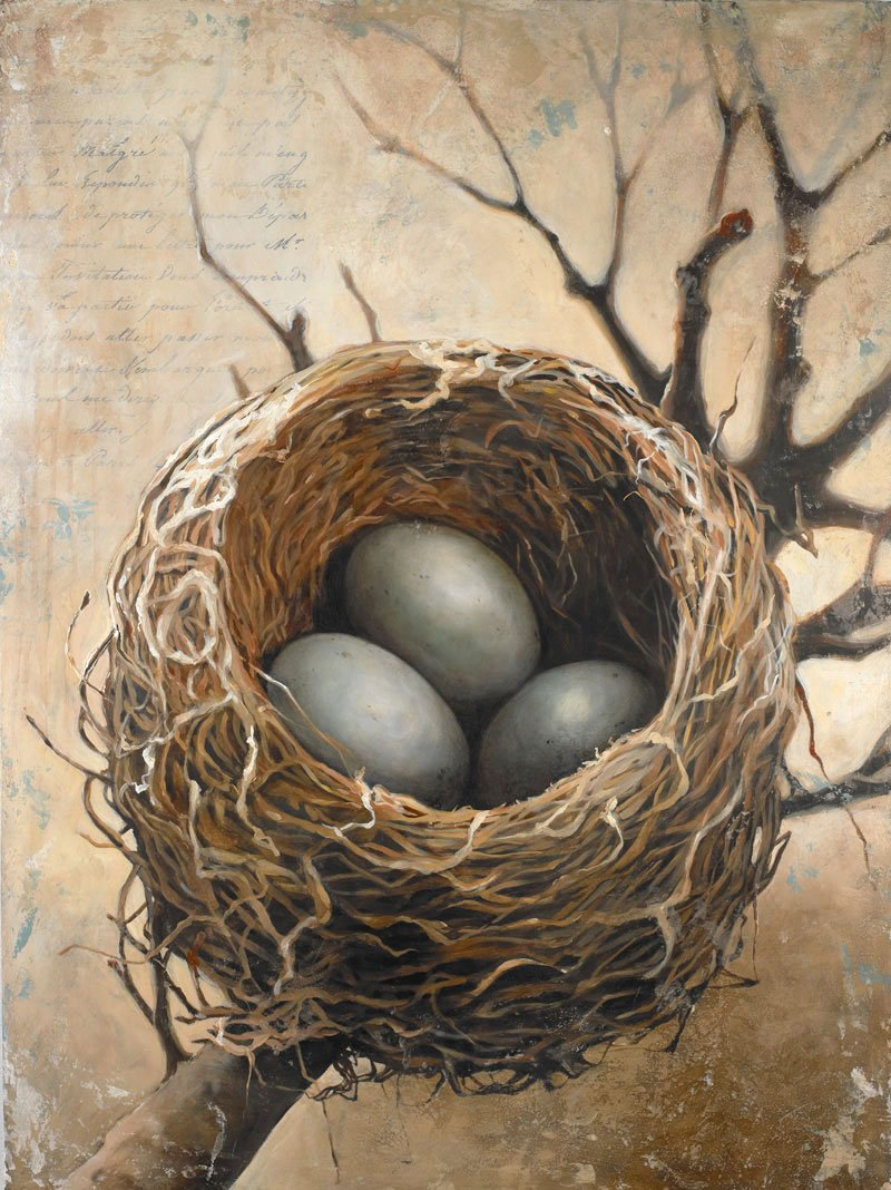 "Completed 18"" x 24"" acrylic on panel nest painting with three eggs added entitled ""Three""."