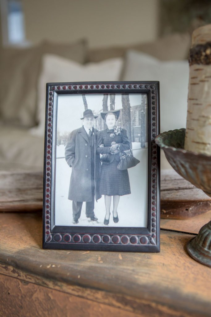 My grandparents smiling at me from this vintage frame make my home feel warm and friendly.