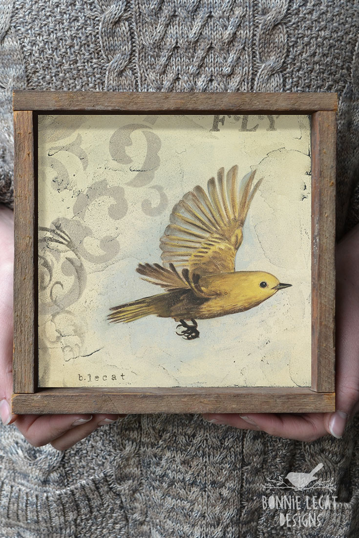 Framed Flying Bird art print by Bonnie Lecat https://www.bonnielecatdesigns.com