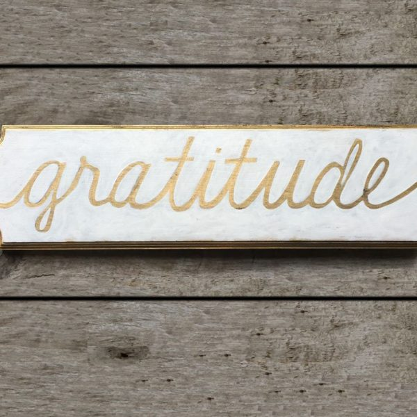 gratitude white and gold on barnwood