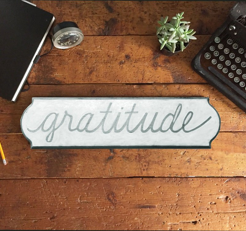 gratitude wood sign gray white