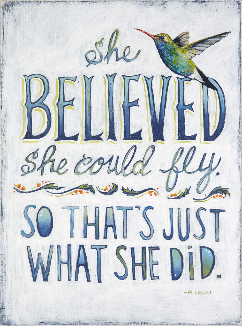 She Believed she could fly illustration by Bonnie Lecat.