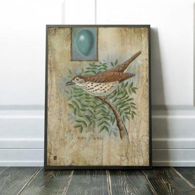 vintage style bird print
