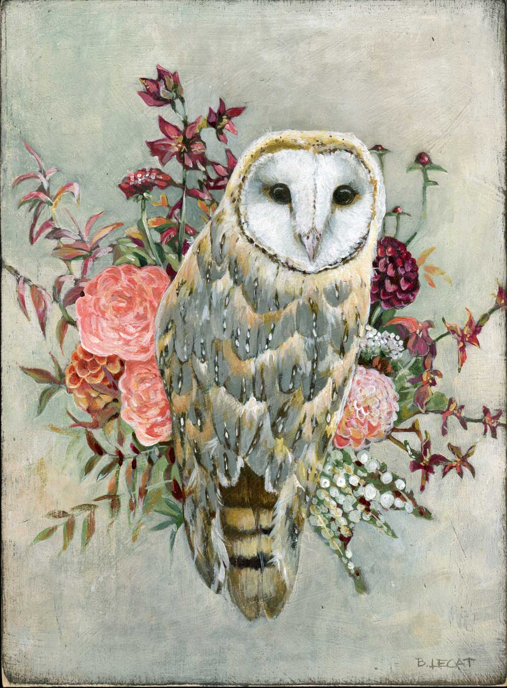 This barn owl print features rich colors and modern farmhouse style and comes ready to hang or give as a gift. Learn more at https://www.bonnielecatdesigns.com