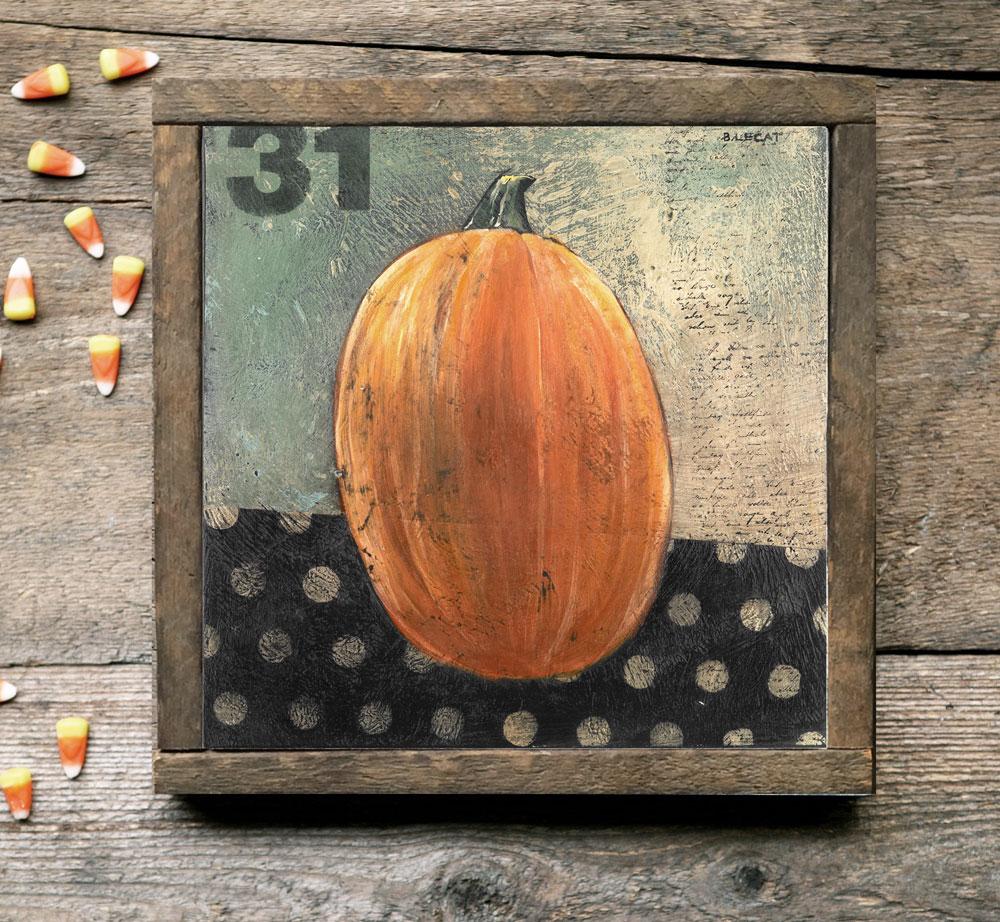 Folk Art Pumpkin Halloween Art Print Artwork Prints Home Decor Gift Ideas
