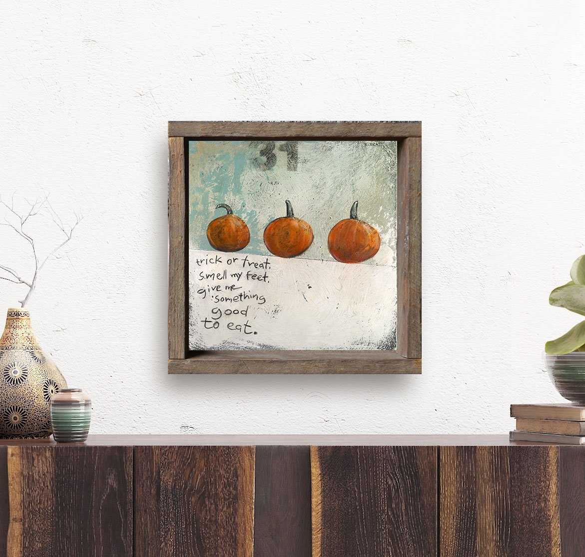 framed-halloween-art-on-white-wall-with-succulents (1)   Artwork ...
