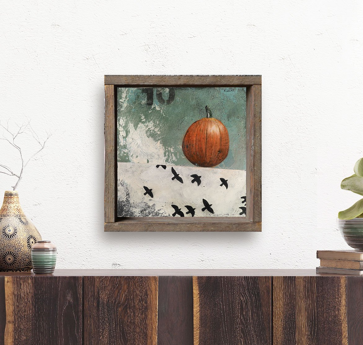 framed-halloween-art-on-white-wall-with-succulents | Artwork, Prints ...