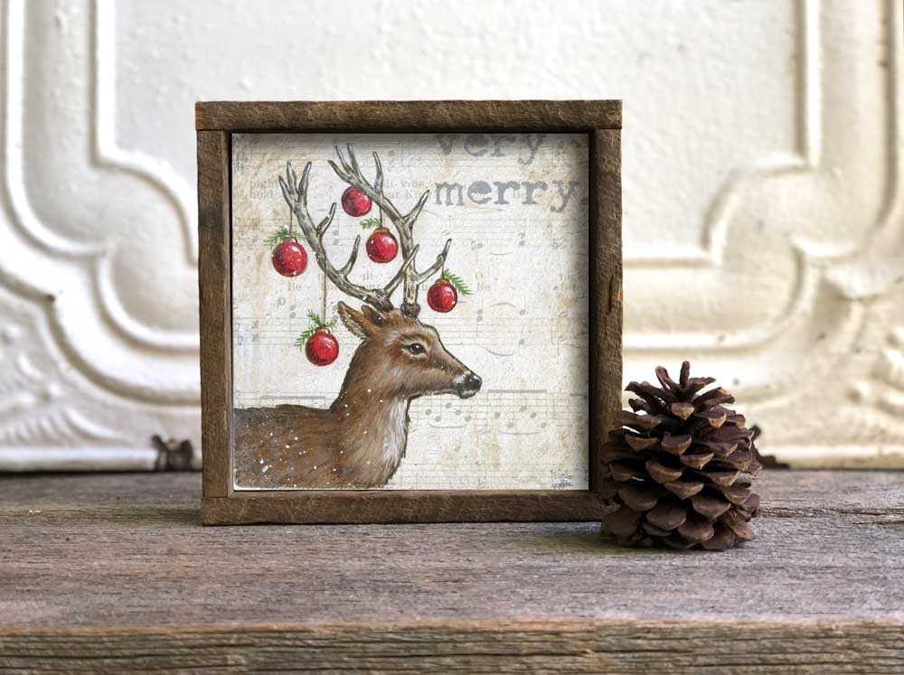 Christmas Deer in Barn wood Frame Art Print