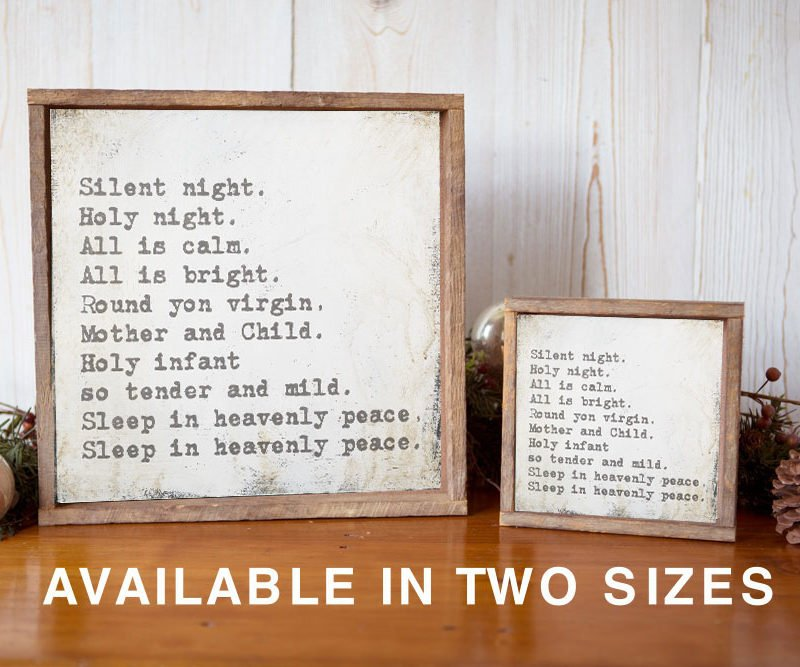 silent night Christmas sign available sizes