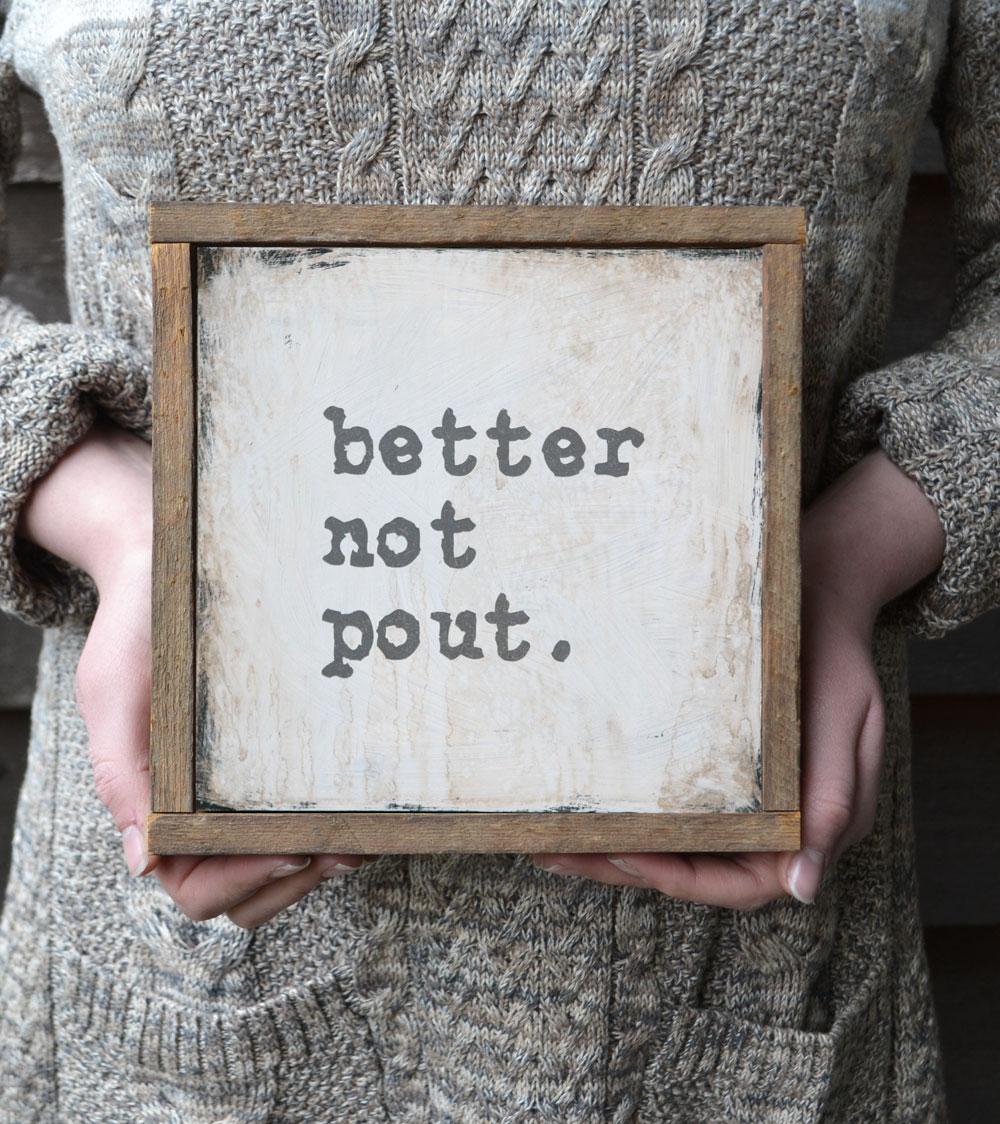 better-not-pout-christmas-sign-reclaimed-wood-frame | Artwork ...