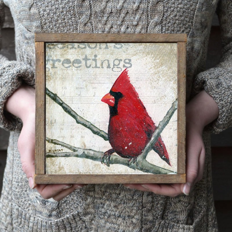 framed Christmas cardinal art print