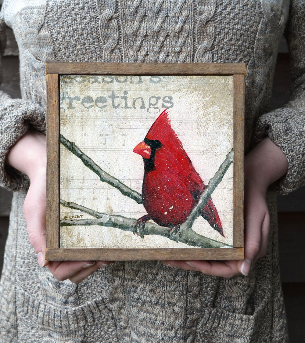Update your Christmas decor with this framed Cardinal print in a reclaimed wood frame.