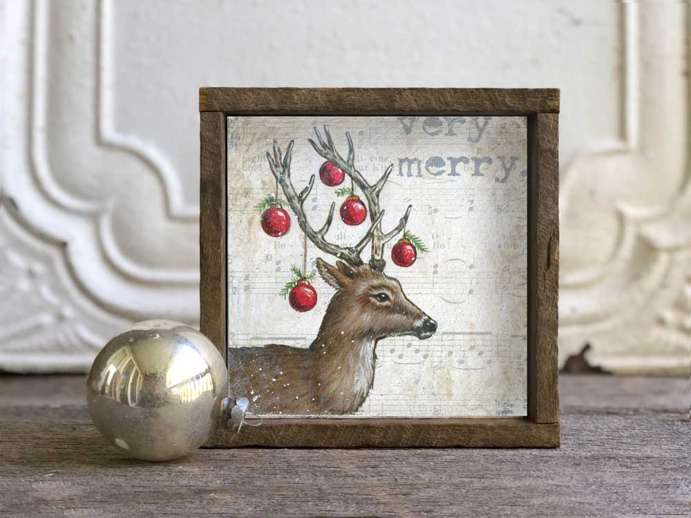 christmas reindeer wall art in optional reclaimed barn. Black Bedroom Furniture Sets. Home Design Ideas