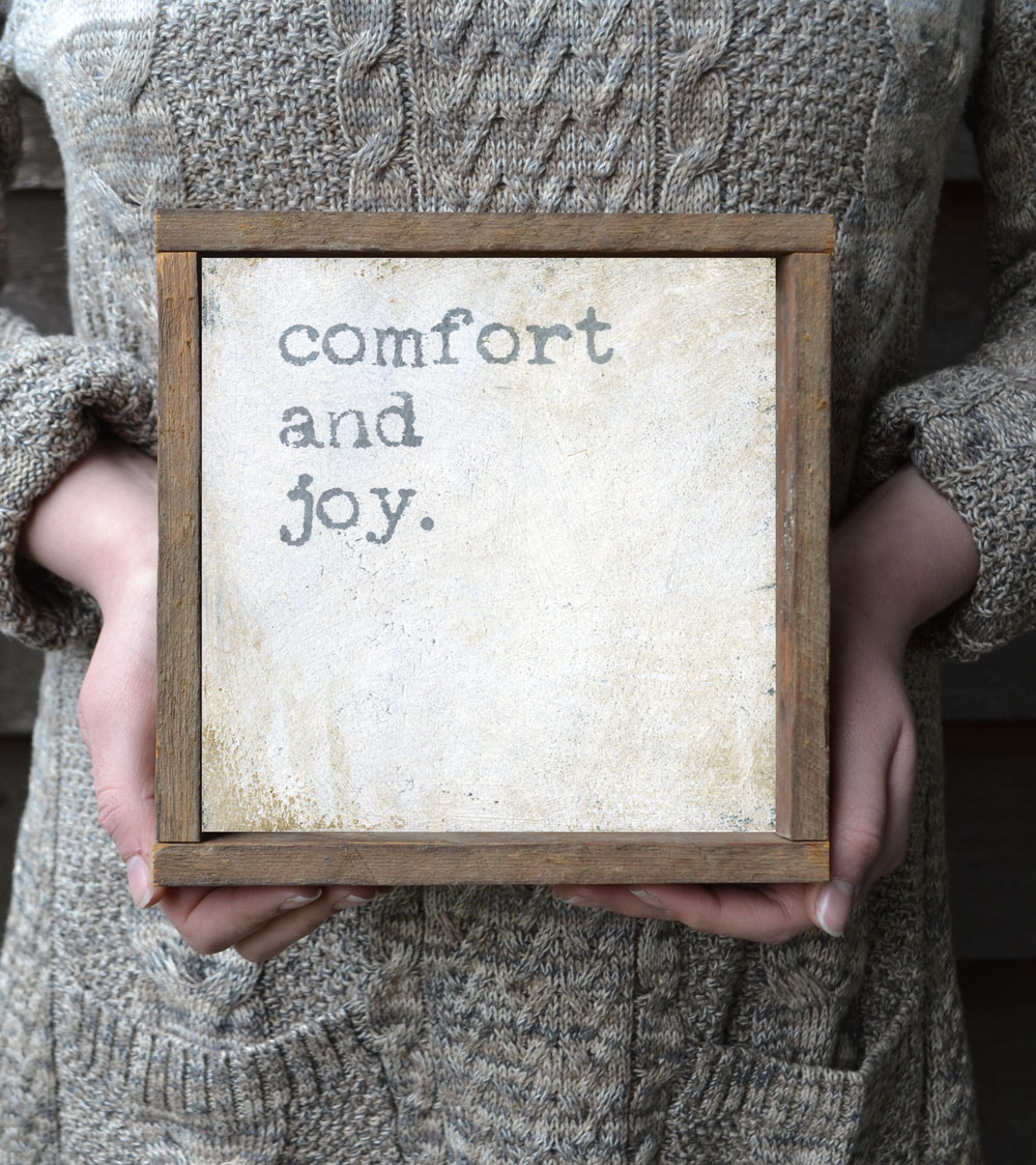 Comfort and Joy framed Christmas Wall Sign available in two sizes by Bonnie Lecat https://www.bonnielecatdesigns.com