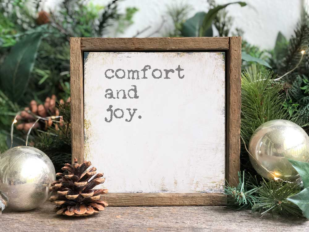 Framed Comfort and Joy Christmas Wall Sign Available in Two Sizes