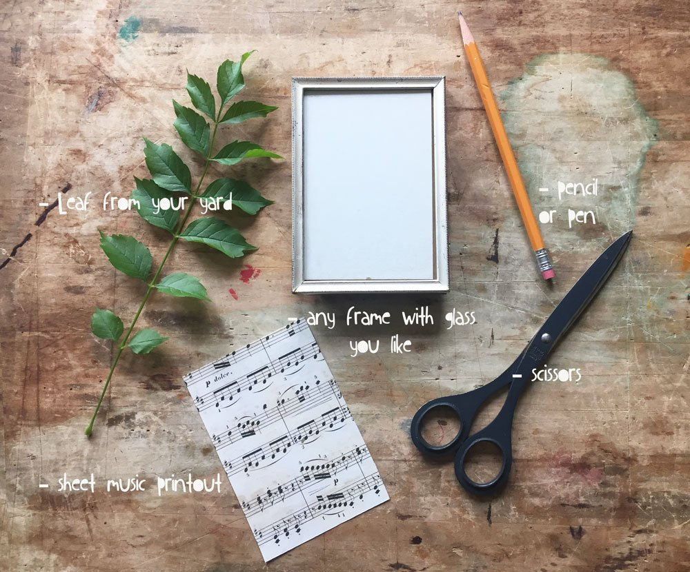 Once you've gathered your supplies and printed out your free sheet music to use as a background, you are ready to get started.