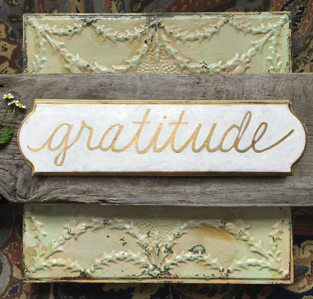 hand painted wood gratitude plaque