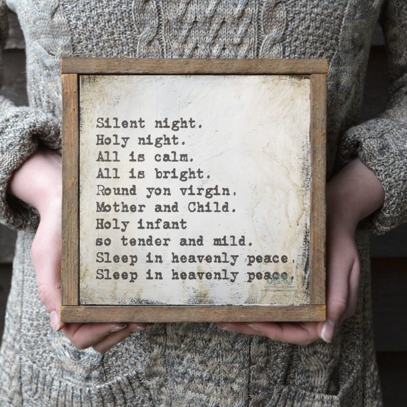 framed Silent Night Christmas wall sign