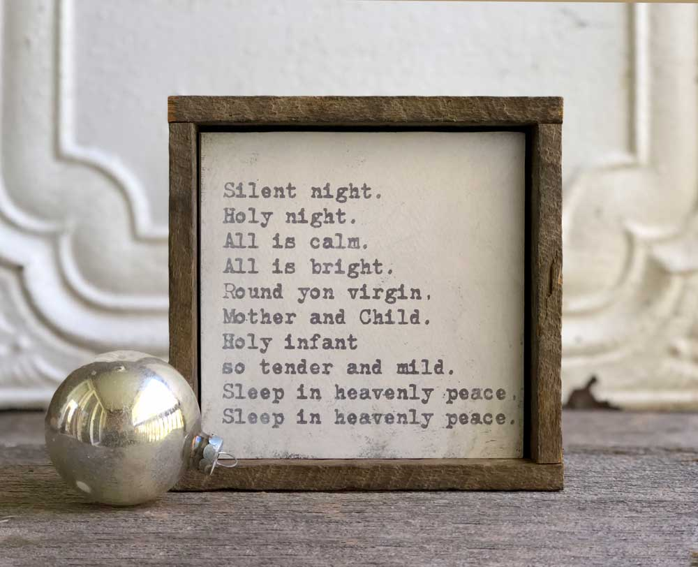 framed Silent Night Christmas art