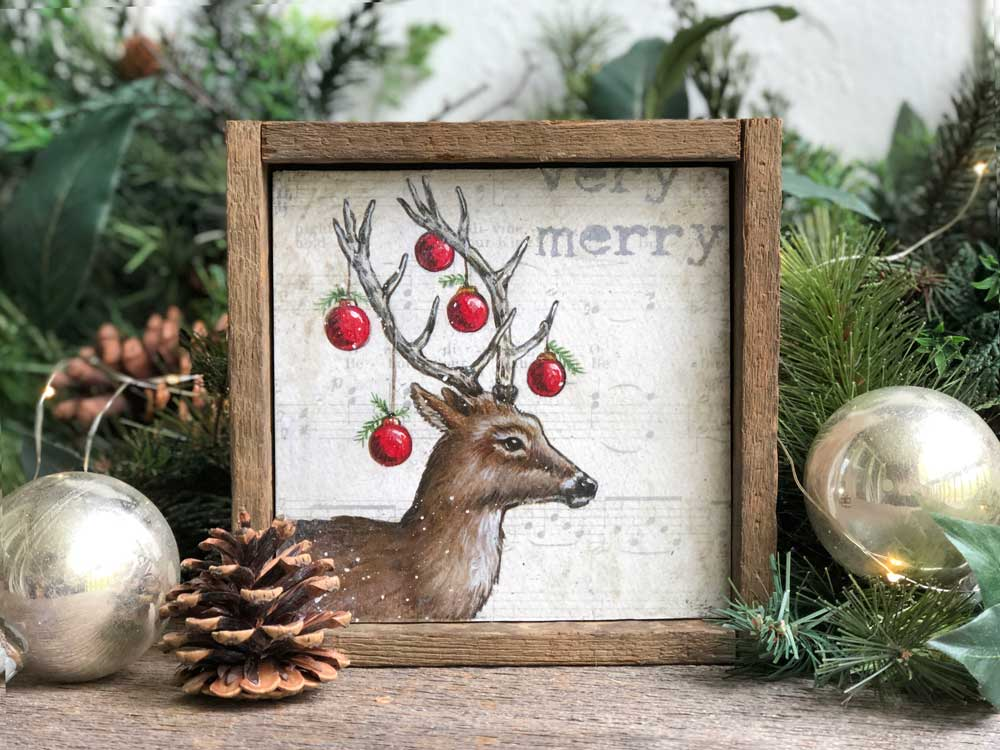 Christmas reindeer wall art in optional reclaimed barn ...