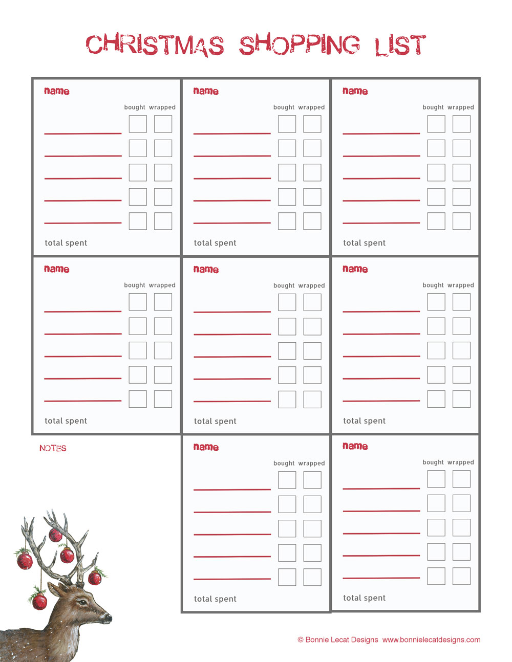 graphic regarding Printable Christmas Gifts called Absolutely free Xmas PRINTABLE Present PLANNER