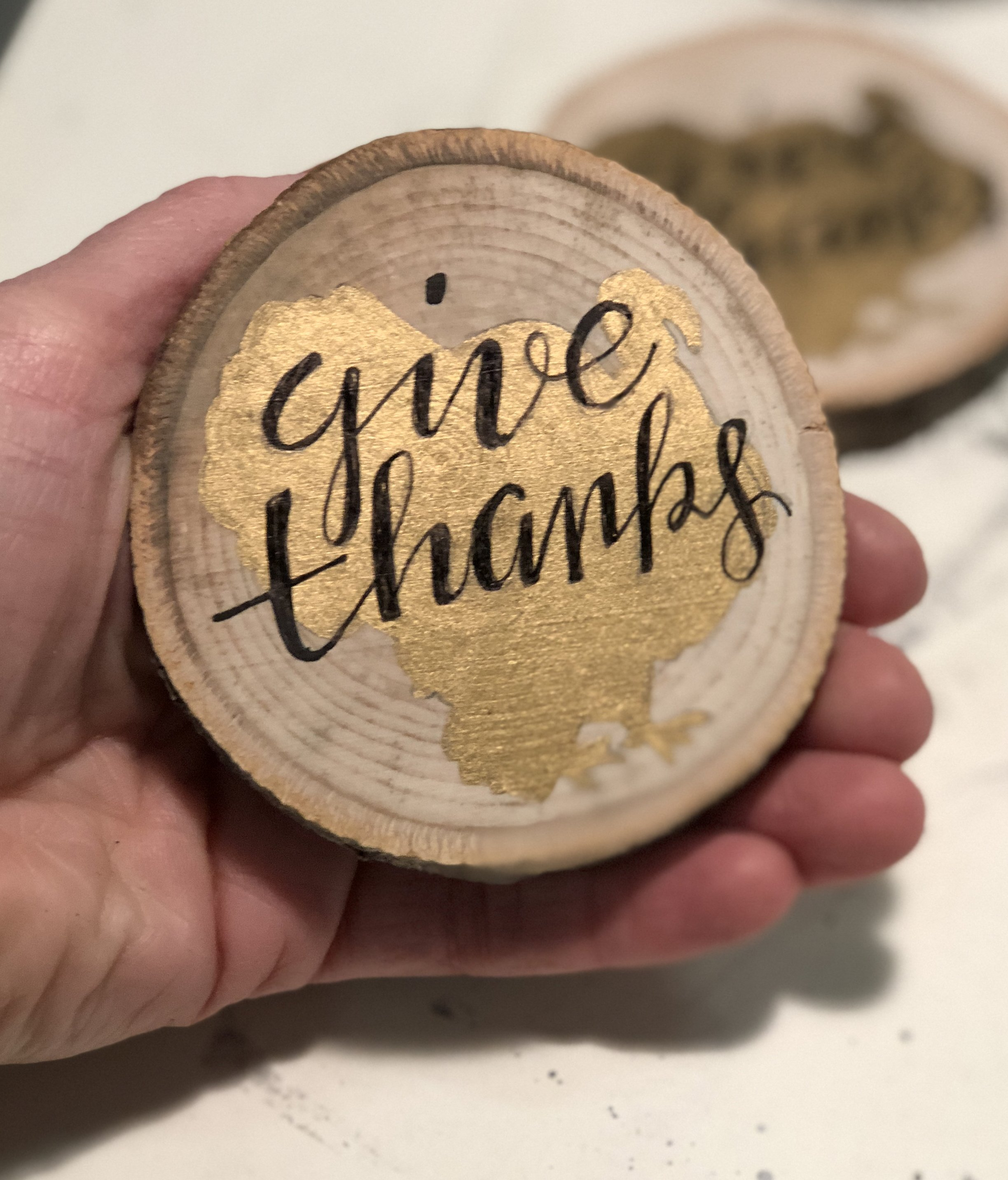 "completed ""Give Thanks"" Thanksgiving magnet"