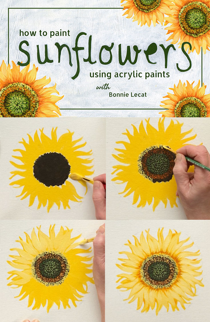 Learn to Paint Sunflowers with acrylic paint in this fun and simple class taught by artist Bonnie Lecat. https://skl.sh/2rtoXL8