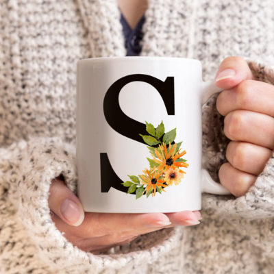 Wildflowers-Monogram-Letters-Coffee-Mug