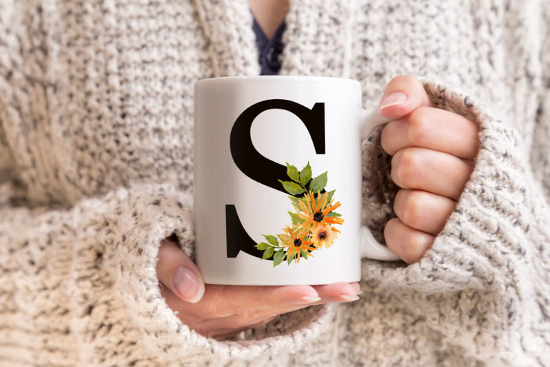 Wildflowers-Monogram-Letters-Coffee-Mug
