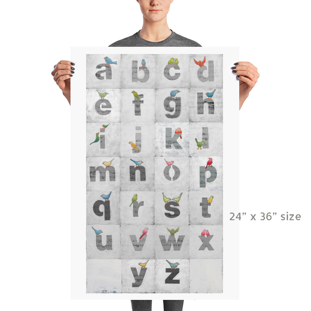 Alphabet Birds Art by Bonnie Lecat available in four standard frame sizes.