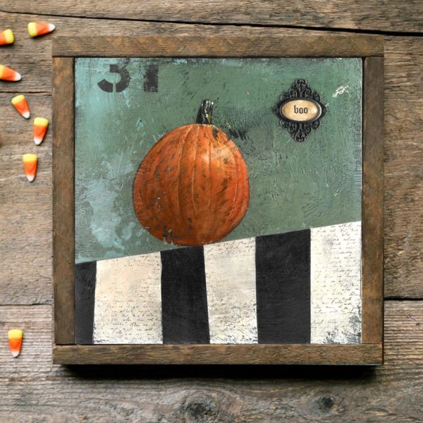 Halloween pumpkin art with reclaimed wood frame