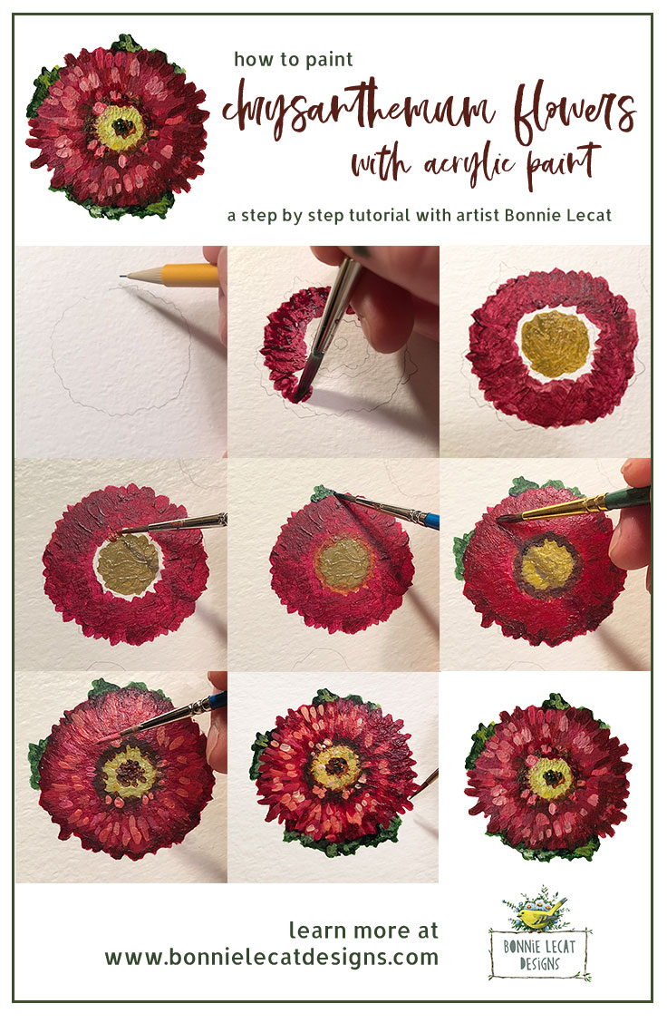 Learn to paint chrysanthemum flowers step by step with artist Bonnie Lecat.