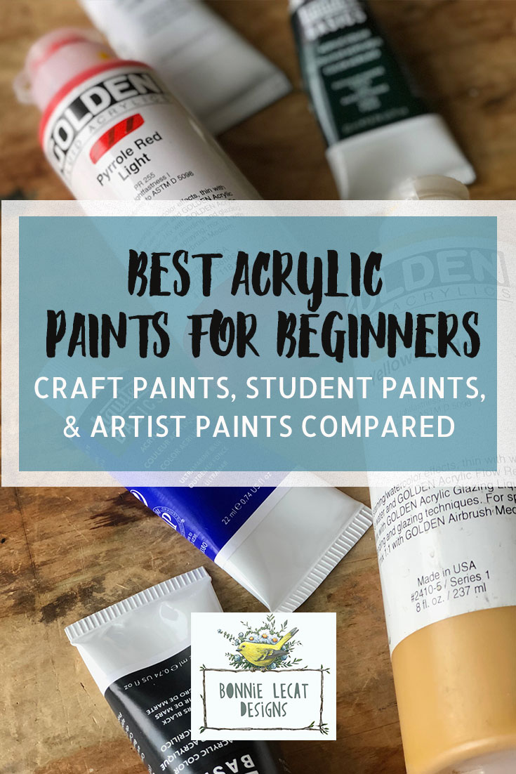 A comparison of craft, student, and professional quality acrylic paints.