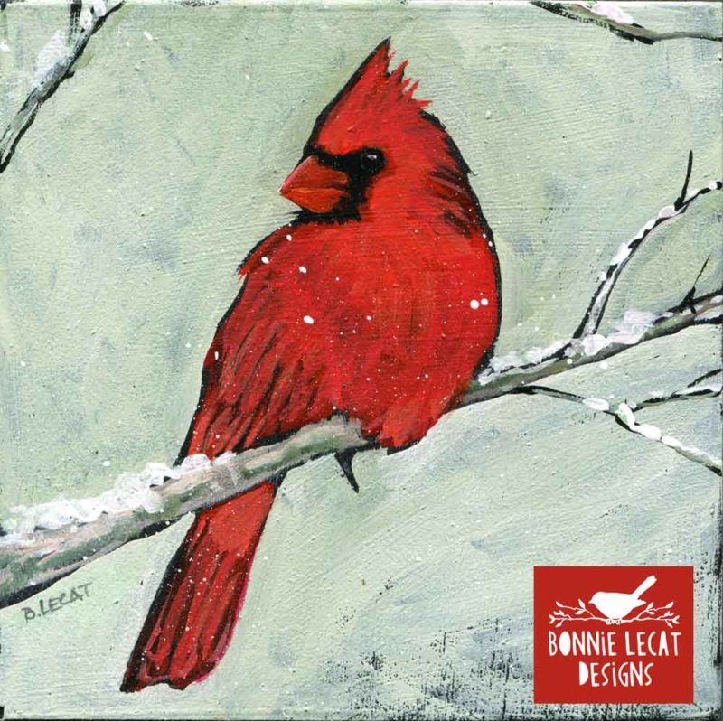 Winter cardinal original acrylic painting by Bonnie Lecat.