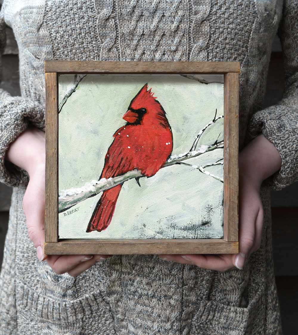 Cardinal birds symbolize faith, hope, and love. Art prints by Bonnie Lecat available in reclaimed wood frames.