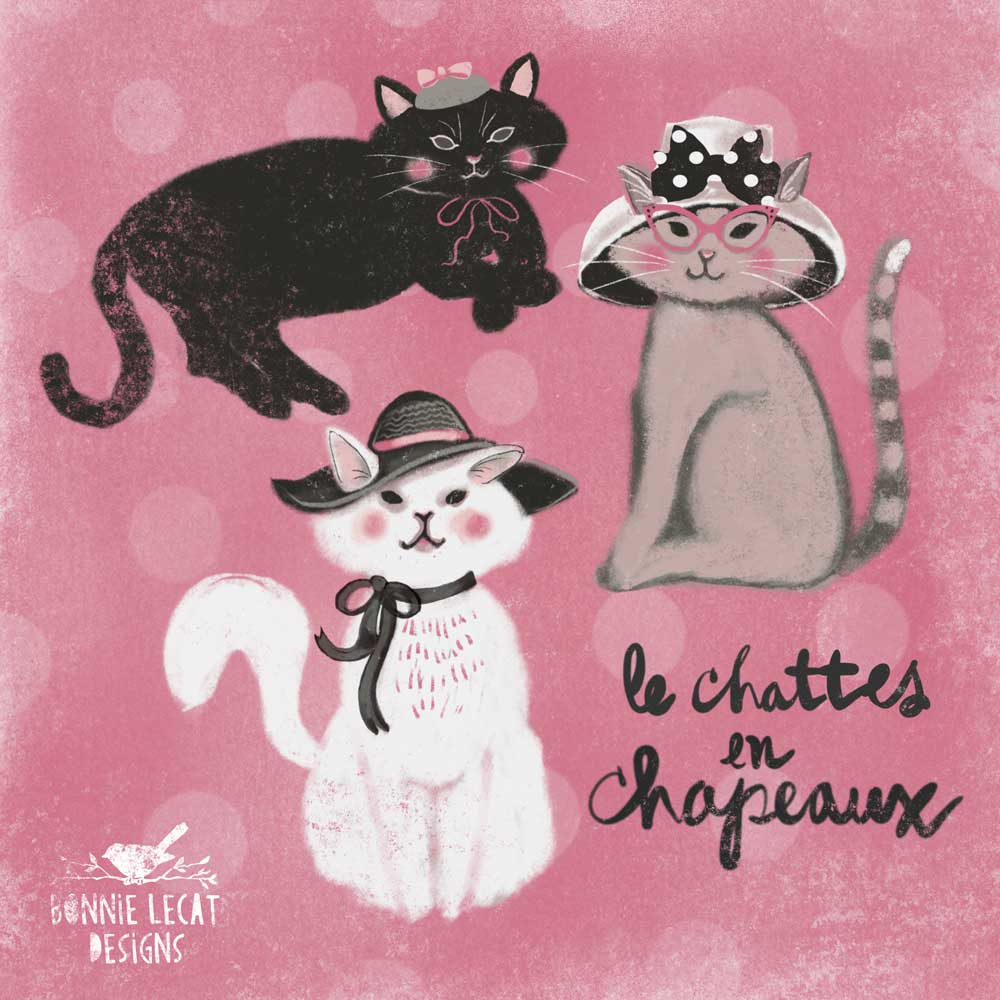 Cats in hats illustration by Bonnie Lecat